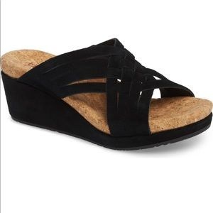 UGG | Lilah Black Suede Criss Cross Wedge Sandals